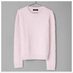 NWT Bershka Pink Long Sleeves Fuzzy Sweater Size M